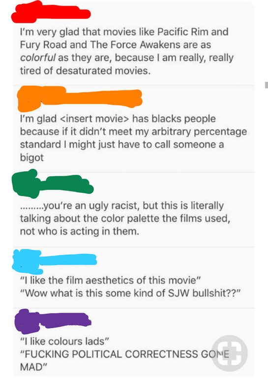comments thread about movie aesthetics being taken as a social justice thing