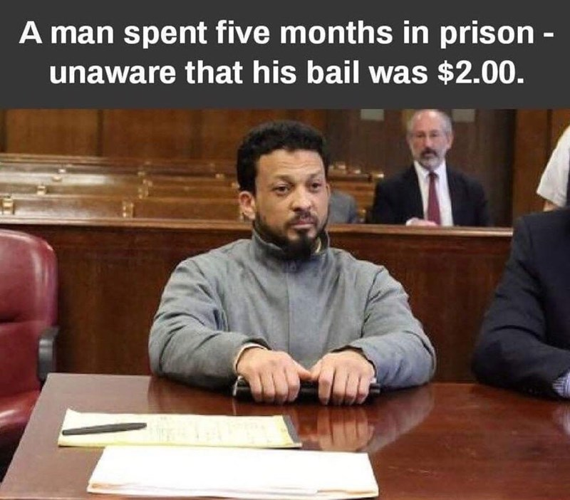 post about a person who spent months in jail not knowing he could bail himself out