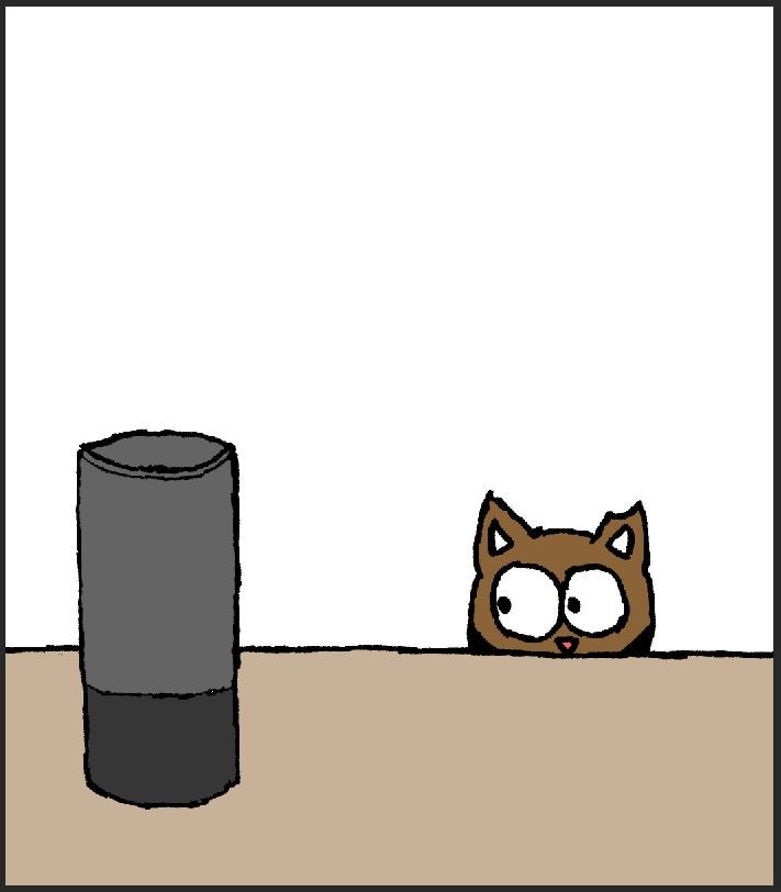 cat comics, cat meets Alexa