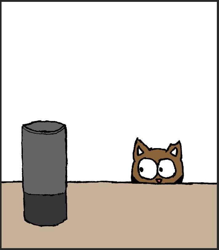 cat comics, cat meets Alexa