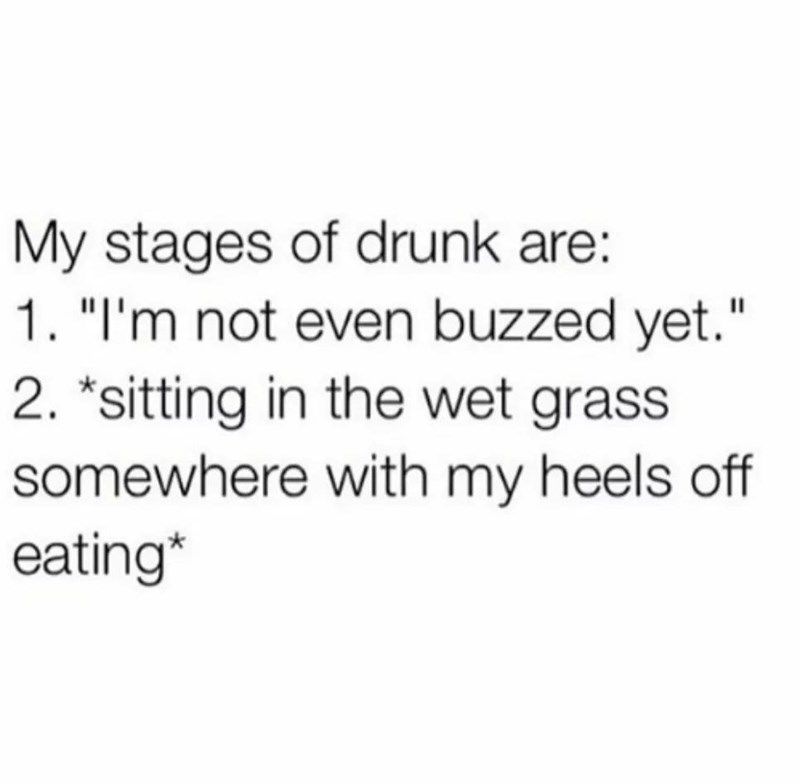 """Text - My stages of drunk are: 1. """"I'm not even buzzed yet."""" 2. """"sitting in the wet grass somewhere with my heels off eating*"""