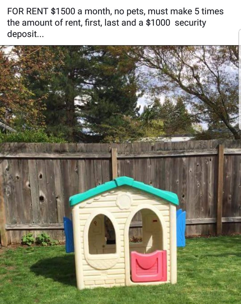 """For rent: $1500 a month, no pets, must make five times the amount of rent, first, last and $1000 security deposit"""