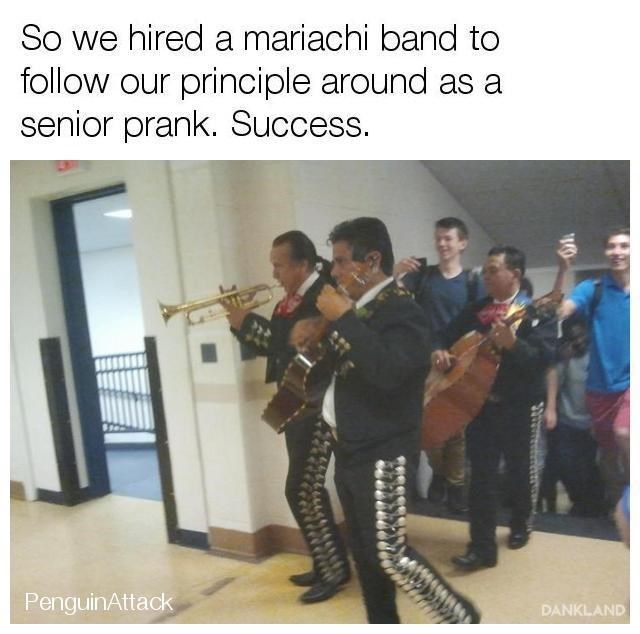 Students hired a mariachi band to follow the principle around all day