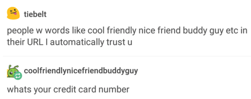 Text - tiebelt people w words like cool friendly nice friend buddy guy etc in their URL I automatically trust u coolfriendlynicefriendbuddyguy whats your credit card number