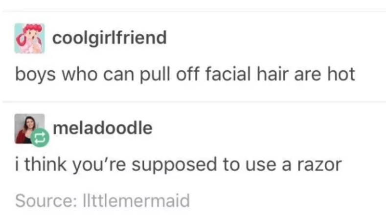 Text - coolgirlfriend boys who can pull off facial hair are hot meladoodle i think you're supposed to use a razor Source: llttlemermaid