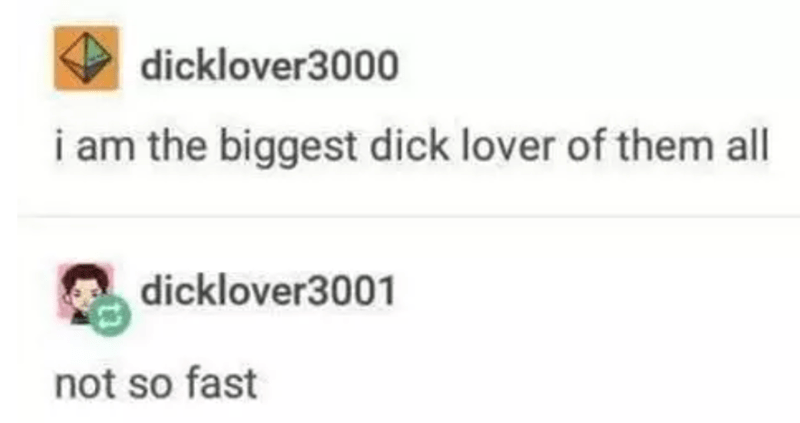 Text - dicklover3000 i am the biggest dick lover of them all dicklover3001 not so fast