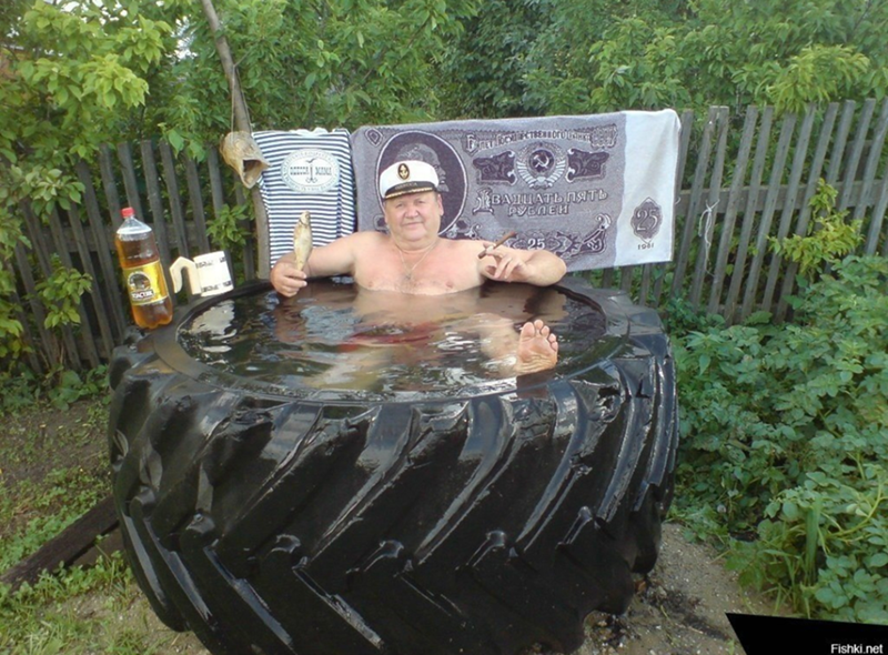 Guy in a truck-tire hot tub