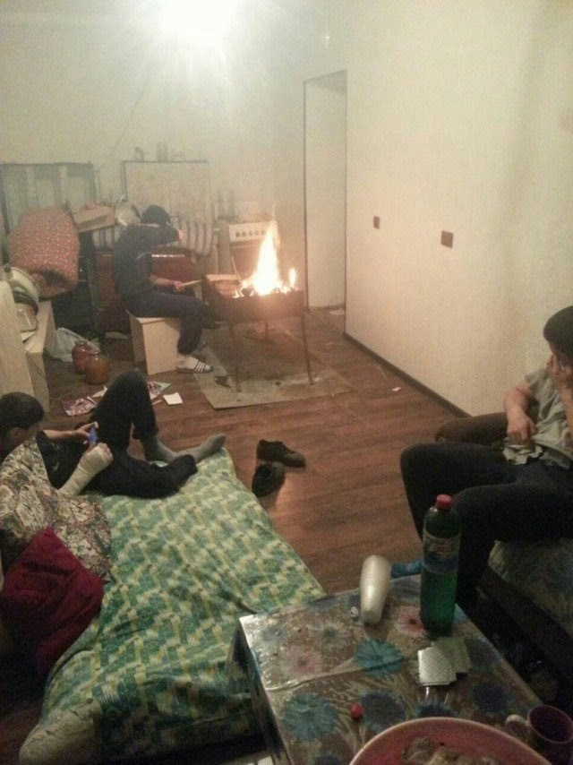 fire in room and no one cares