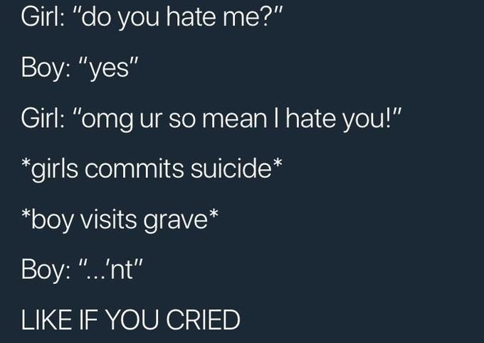 """Text - Girl: """"do you hate me?"""" Boy: """"yes"""" Girl: """"omg ur so mean I hate you!"""" *girls commits suicide* *boy visits grave Boy: """"...nt"""" LIKE IF YOU CRIED"""