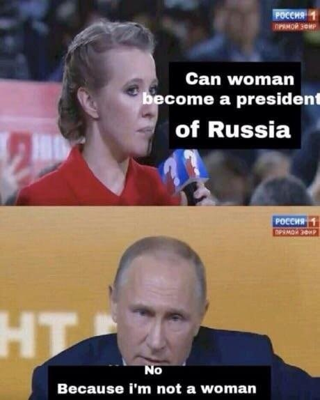 Facial expression - POCCHA PRMOR SOMP Can woman become a presiden of Russia POCCHR1 HT No Because i'm not a woman