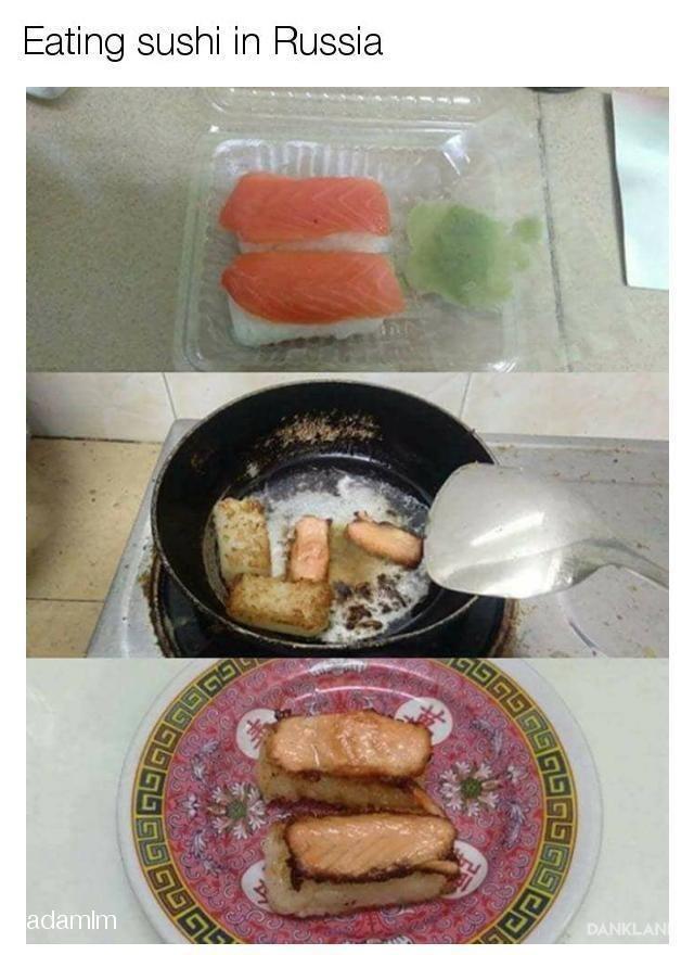 Food - Eating sushi in Russia GEGSGS DANKLAN adamim IS1S GGG