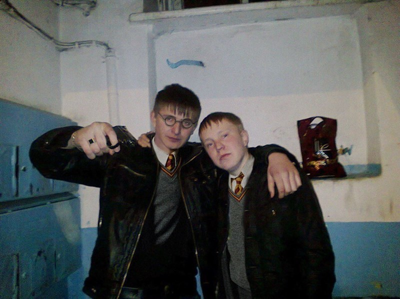 Russian boys wearing harry potter costumes