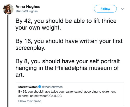 Text - Anna Hughes @AnnaGHughes Follow By 42, you should be able to lift thrice your own weight By 16, you should have written your first screenplay. By 8, you should have your self portrait hanging in the Philadelphia museum of art. MarketWatch@MarketWatch By 35, you should have twice your salary saved, according to retirement experts: on.mktw.net/2Gb4UDC Show this thread