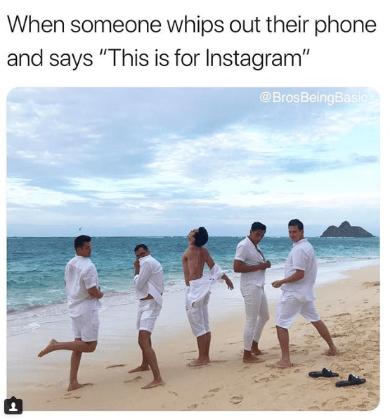 """People on beach - When someone whips out their phone and says """"This is for Instagram"""" @BrosBeingBasic"""