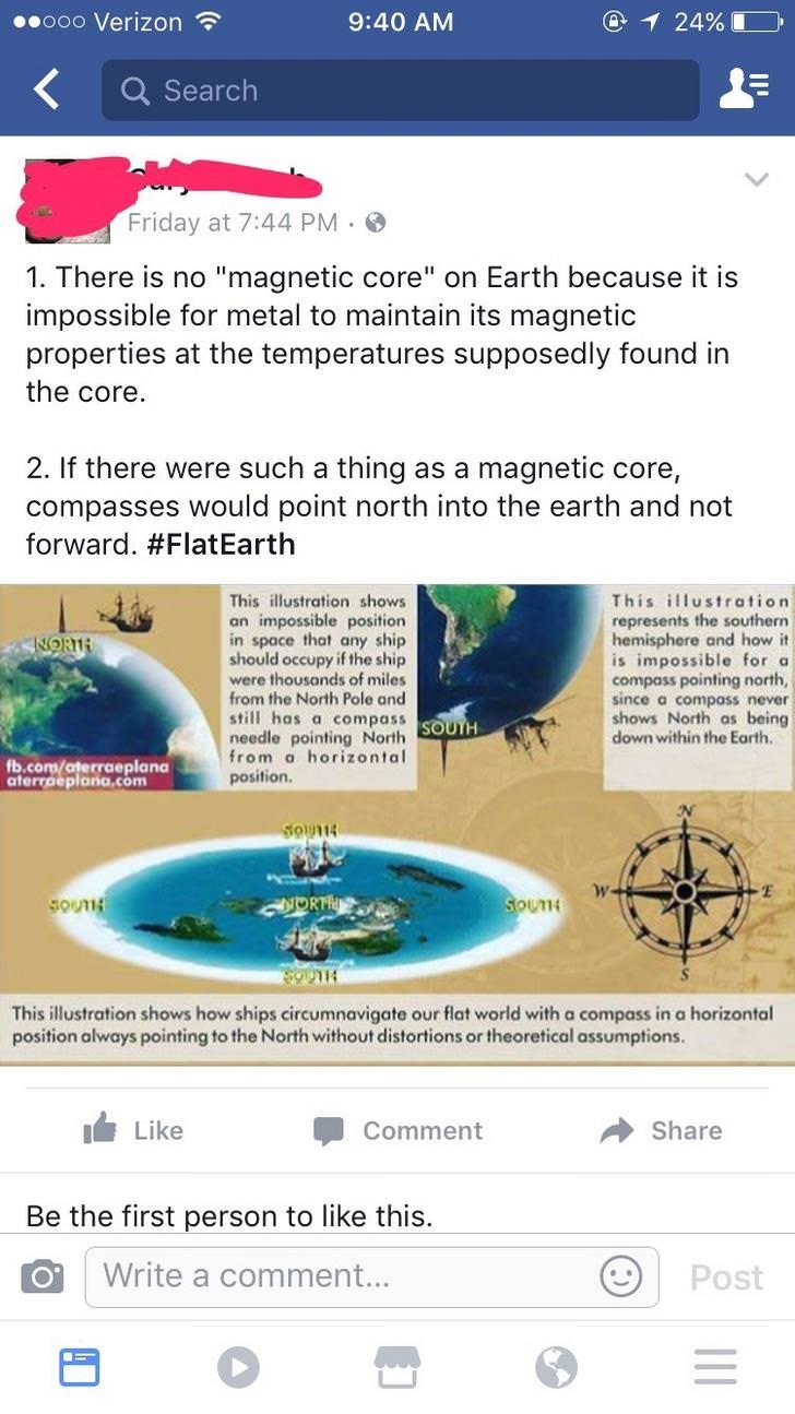 """Water - .ooo Verizon @1 24% 9:40 AM Search Friday at 7:44 PM. 1. There is no """"magnetic core"""" on Earth because it is impossible for metal to maintain its magnetic properties at the temperatures supposedly found in the core. 2. If there were such a thing as a magnetic core, compasses would point north into the ea forward. #FlatEarth not ar This illustration represents the southern hemisphere and how it is impossible for a compass pointing north, since a compass never shows North as being down with"""