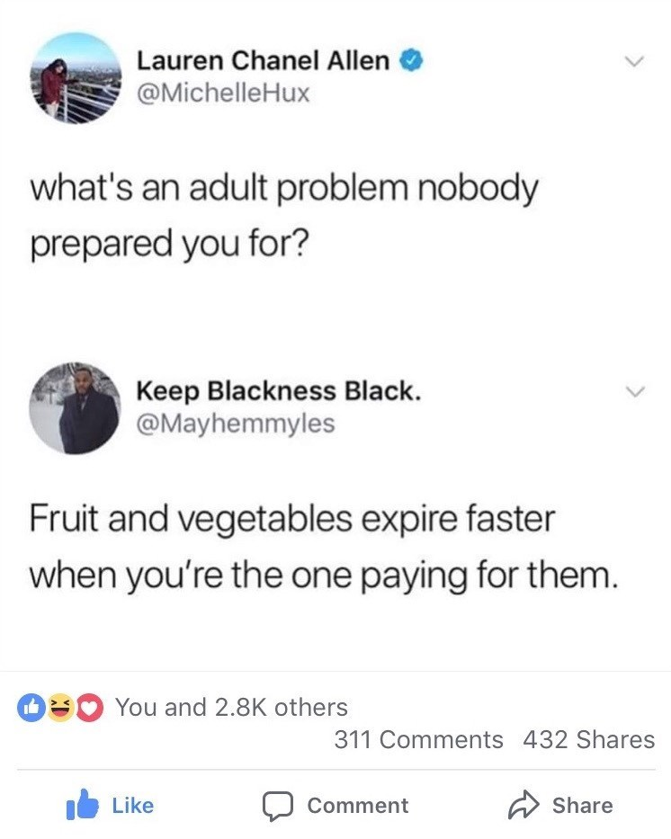 Funny meme about growing up and the way veggies and fruit go bad.