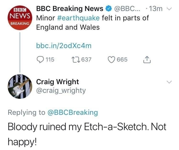 Guy is upset that an earthquake in the UK ruined his Etch-a-Sketch artwork