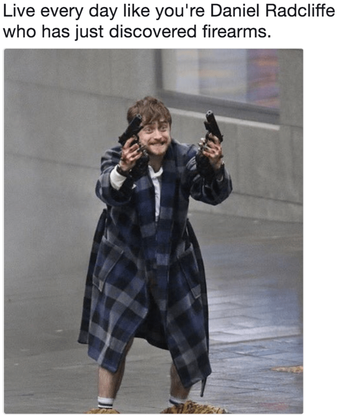 Plaid - Live every day like you're Daniel Radcliffe who has just discovered firearms.