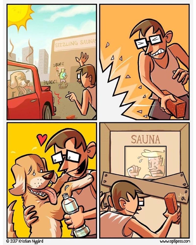 cuando ves a alguien dejando su perro en el carro en pleno verano