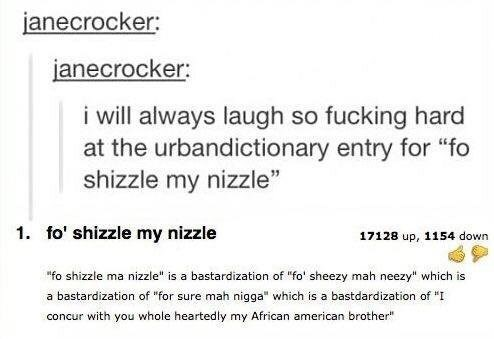 """funny tumblr post i will always laugh so fucking hard at the urbandictionary entry for """"fo shizzle my nizzle"""" 1. fo' shizzle my nizzle 17128 up, 1154 down """"fo shizzle ma nizzle"""" is a bastardization of """"fo' sheezy mah neezy which is bastardization of """"for sure mah nigga"""" which is a bastdardization of """"I a concur with you whole heartedly my African american brother"""