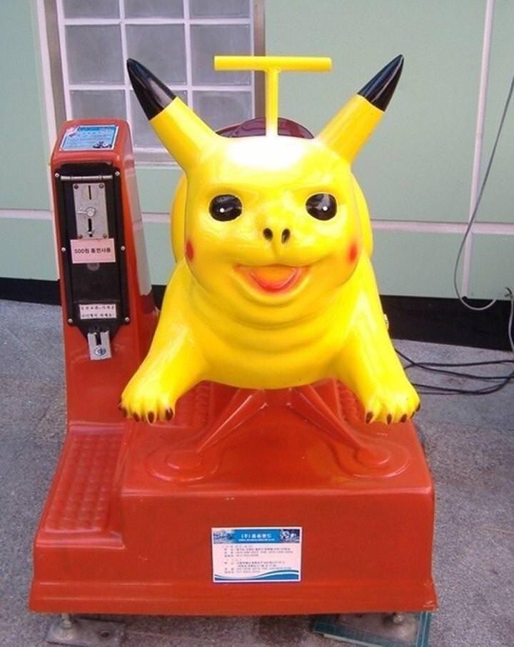 cursed image - creepy pikachu ride