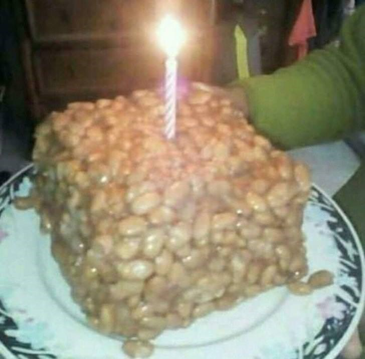 cursed image - Food baked beans cake
