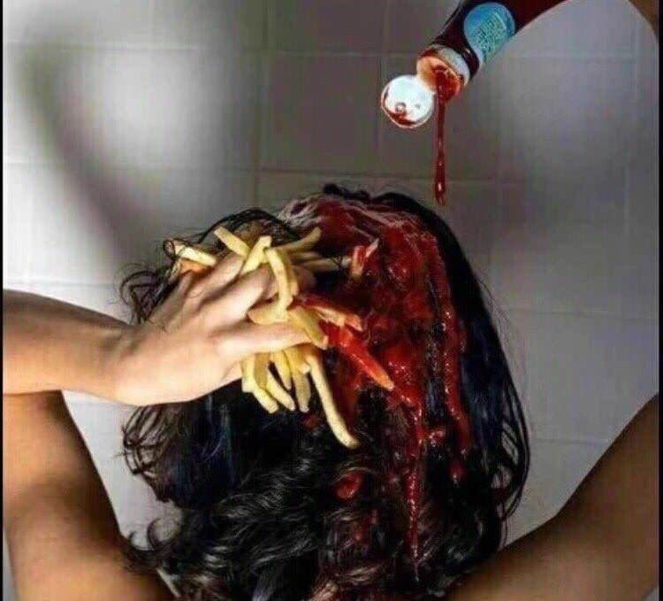 cursed image - Hair with fries and ketchup in shower