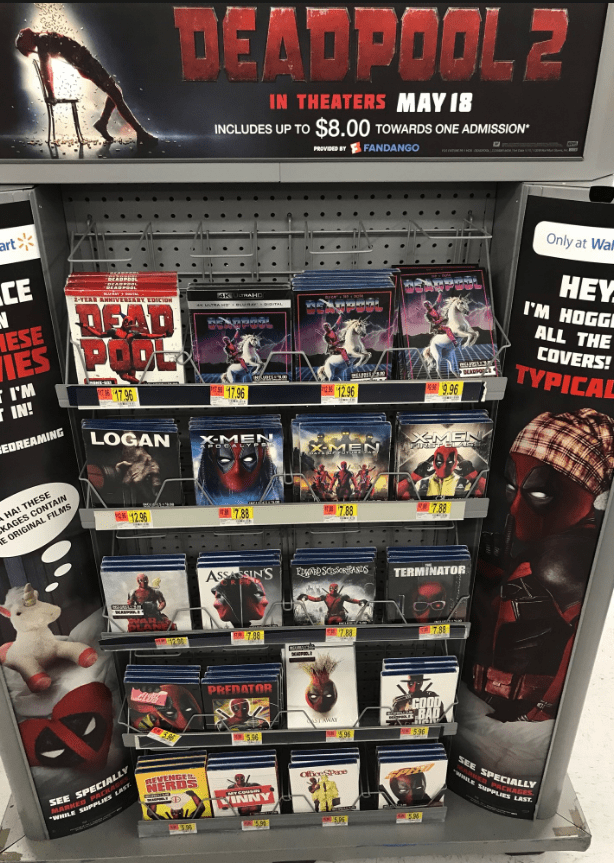 Toy - DEADPOOL 2 IN THEATERS MAY 18 INCLUDES UP TO $8.00 TOWARDS ONE ADMISSION PROVED B FANDANGO art Only at Wa CE EAGPOAt -EAR ANNVERSARY EDCON AK TRAHD HEY I'M HOGG DEAD wwwaw ESE HES PODL ALL THE COVERS! TYPICAL I'M IN! eurn3 BEADP T7 96 1.96 12.96 E 9 96 LOGAN EDREAMING X-MEN XMEN XMEN HA! THESE KAGES CONTAIN E ORIGINAL FILMS 12.96 7 38 7.88 7.88 ASSASSINS EgnessitAsts TERMINATOR 7.98 7.88 798 PREDATOR GOOD BA 596 95 530 SEE SPECIALLY MARKED PRCKAS WHILE SuPPLIES EAST REVENGE NERDS SEE SPECI