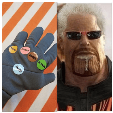 Funny meme about Thanos from Avengers: Infinity War, joke about Guy Fieri's gauntlet, flavortown.