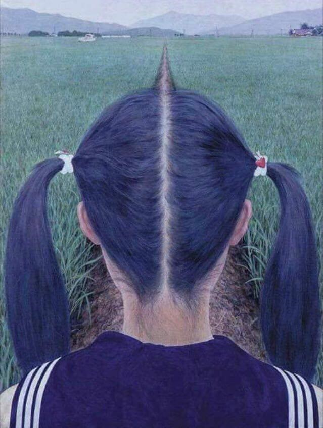 memes - Hair part in line with a path in the middle of a field