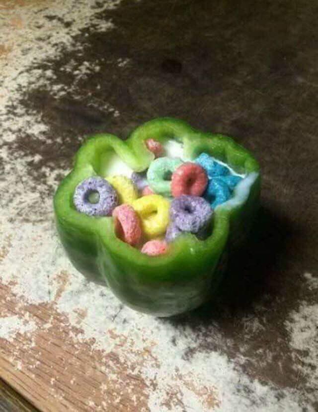 memes - Food cereal inside a pepper