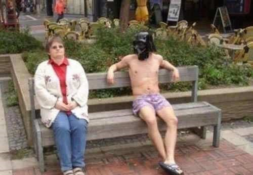 memes - Male wearing star wars mask shirtless and sitting on a bench