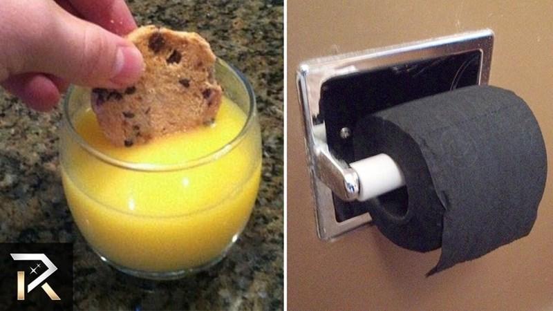 memes - Food dipping cookie in orange juice, black toilet paper