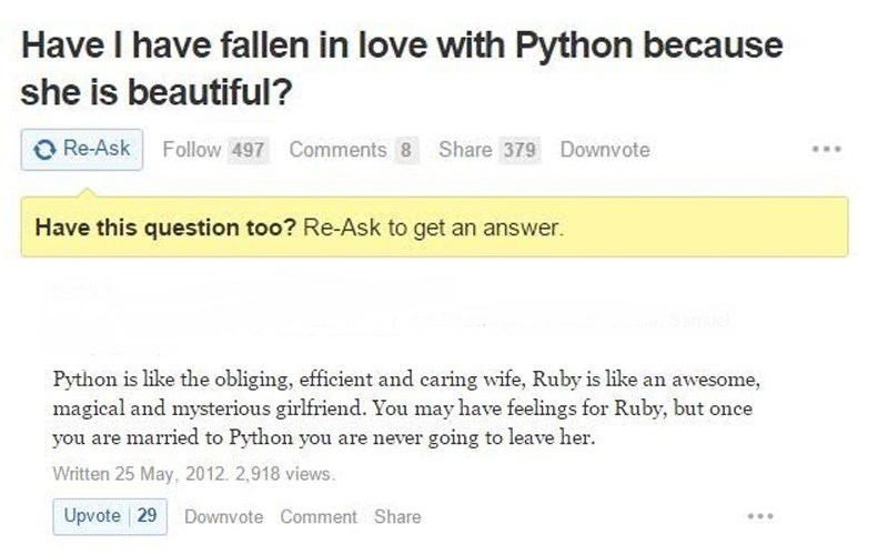 Text - Have I have fallen in love with Python because she is beautiful? Re-Ask Follow 497 Comments 8 Share 379 Downvote Have this question too? Re-Ask to get an answer. Python is like the obliging, efficient and caring wife, Ruby is like an awesome, magical and mysterious girlfriend. You may have feelings for Ruby, but once you are married to Python you are never going to leave her Written 25 May, 2012. 2,918 views. Upvote 29 Downvote Comment Share