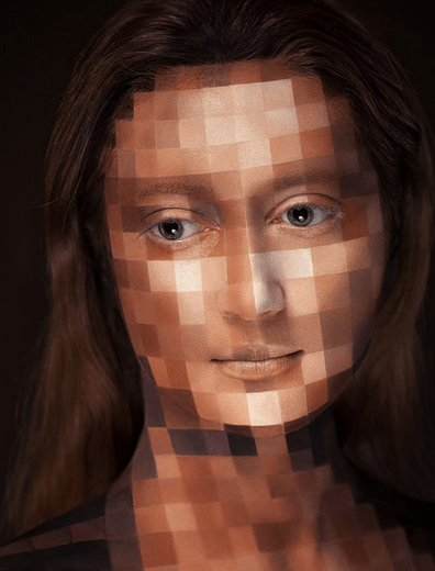 Girl with a pixelated face