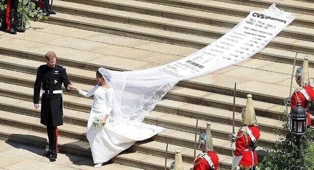 Funny meme about meghan markle and prince harry, wedding dress, cvs receipt.