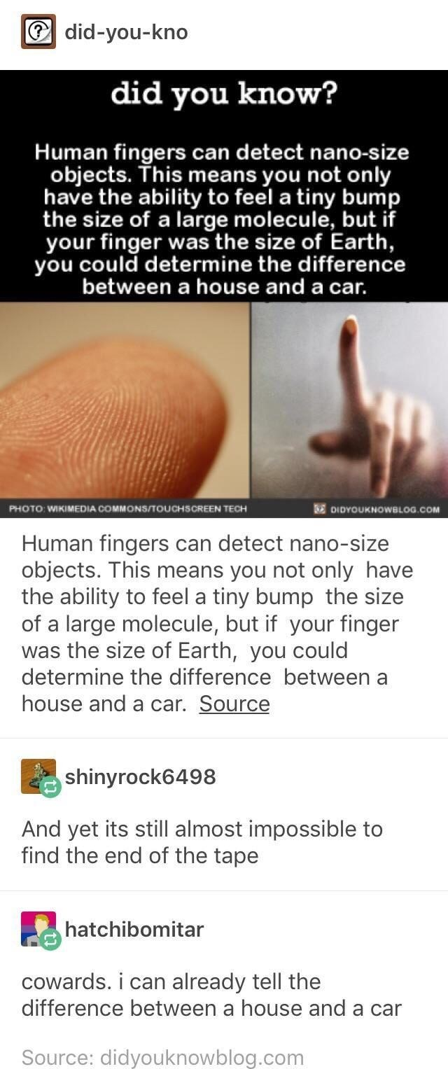memes - Text - did-you-kno did you know? Human fingers can detect nano-size objects. This means you not only have the ability to feel a tiny bump the size of a large molecule, but if your finger was the size of Earth, you could determine the difference between a house and a car. C PHOTO WIKIMEDIA COMMONS/TOUCHSCREEN TECH DIDYOUKNOWBLOG.COM Human fingers can detect nano-size objects. This means you not only have the ability to feel a tiny bump the size of a large molecule, but if your finger was