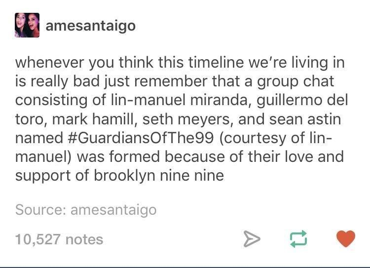 memes - Text - amesantaigo whenever you think this timeline we're living in is really bad just remember that a group chat consisting of lin-manuel miranda, guillermo del toro, mark hamill, seth meyers, and named #GuardiansOfThe99 (courtesy of lin- manuel) was formed because of their love and support of brooklyn nine nine Source: amesantaigo 10,527 notes