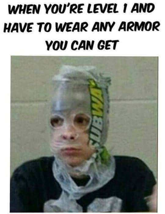 Head - WHEN YOU'RE LEVEL I AND HAVE TO WEAR ANY ARMOR YOU CAN GET ГМЕЛS
