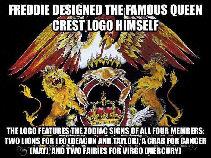 Poster - FREDDIE DESIGNED THE FAMOUS QUEEN CREST LOGO HIMSELF THE LOGO FEATURESTHE ZODIAC SIGNS OFALL FOUR MEMBERS: TWO LIONS FOR LEO (DEACON AND TAYLOR), A CRAB FOR CANCER MAY AND TWO FAIRIES FOR VIRGO (MERCURY
