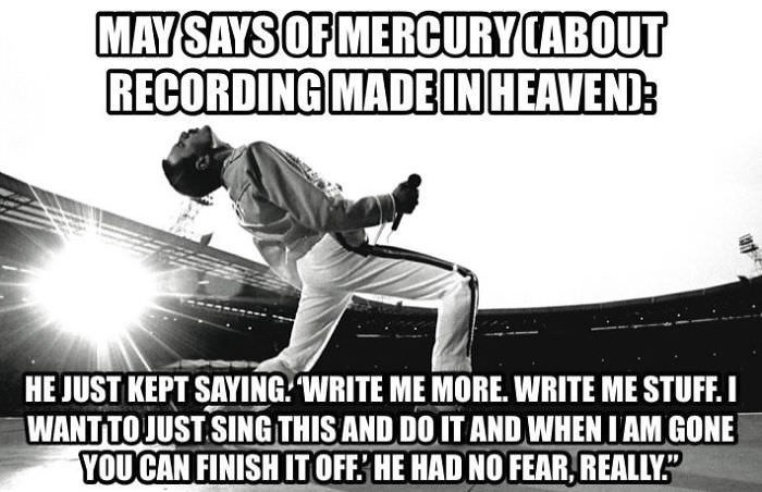Font - MAY SAYS OF MERCURY CABOUT RECORDING MADEIN HEAVEND HE JUST KEPT SAYING WRITE ME MORE. WRITE ME STUFF. I WANTTOJUST SING THIS AND DOIT AND WHEN IAM GONE YOU CAN FINISH ITOFF: HE HAD NO FEAR,REALLY""