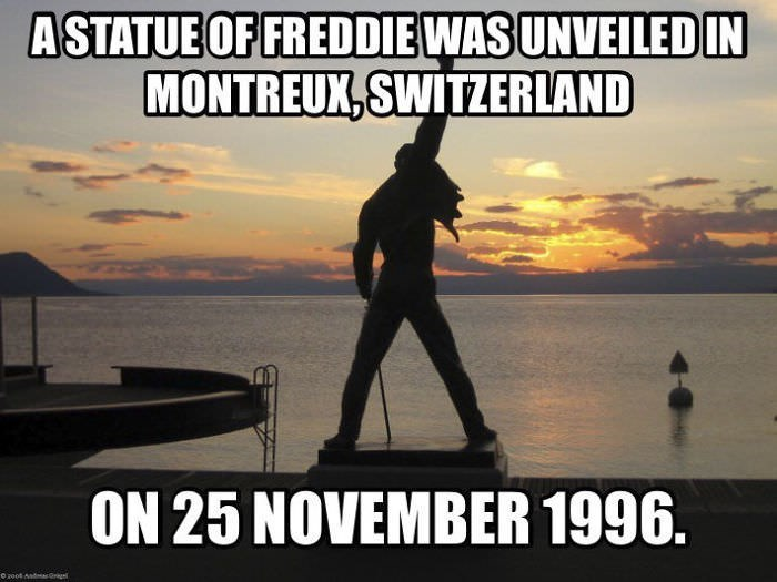Photo caption - ASTATUE OF FREDDIE WAS UNVEILED IN MONTREUX,SWITZERLAND ON 25 NOVEMBER 1996.