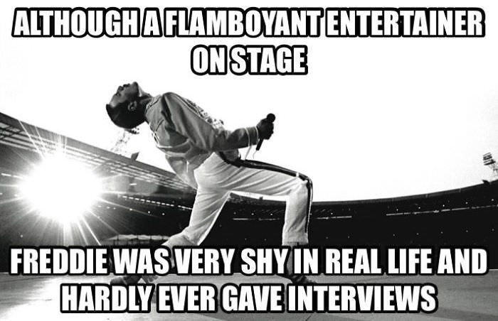 Font - ALTHOUGHA FLAMBOYANTENTERTAINER ONSTAGE FREDDIE WAS VERY SHYIN REAL LIFE AND HARDLY EVER GAVE INTERVIEWS