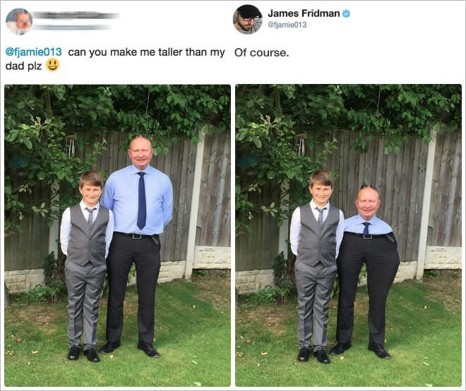 Photograph - James Fridman @fjamie013 @fjamie013 can you make me taller than my Of course. dad plz