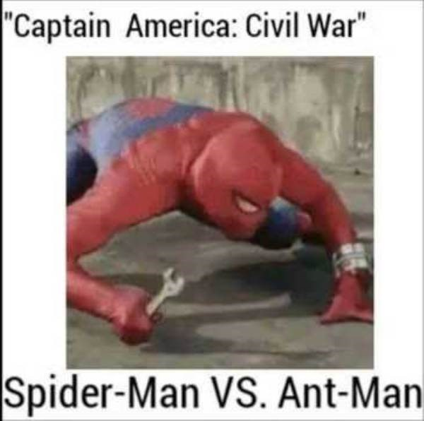 "meme - Press up - ""Captain America: Civil War"" Spider-Man VS. Ant-Man"