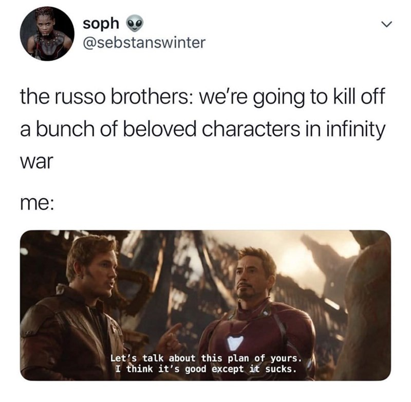 meme - Text - soph @sebstanswinter the russo brothers: we're going to kill off a bunch of beloved characters in infinity war me: Let's talk about this plan of yours. I think it's good except it sucks.