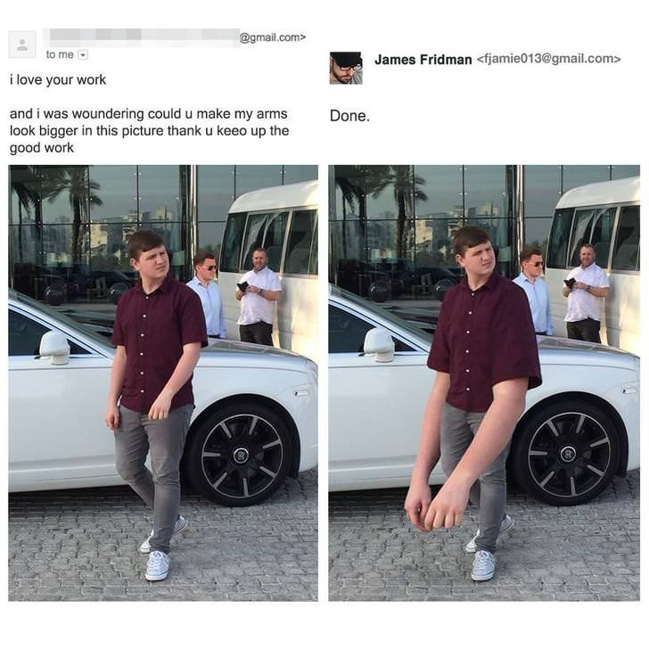 Alloy wheel - @gmail.com> to me James Fridman <fjamie013@gmail.com> i love your work and i was woundering could u make my arms look bigger in this picture thank u keeo up the good work Done.