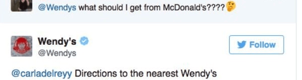 Text - @Wendys what should I get from McDonald's???? Wendy's @Wendys Follow @carladelreyy Directions to the nearest Wendy's