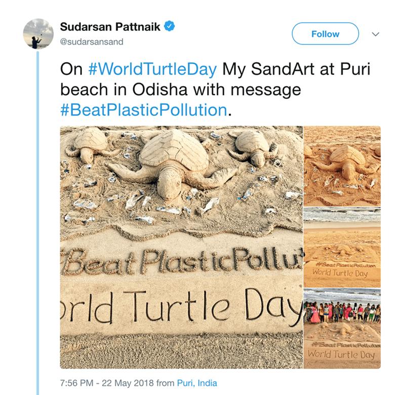 Text - Sudarsan Pattnaik Follow @sudarsansand On #WorldTurtleDay My SandArt at Puri beach in Odisha with message #BeatPlasticPollution. Beat PlasticPollu rld Turtle Day Beat Plast icPollution World Turtle Day PBeat Plctst tcFollutio World rtle Day 7:56 PM - 22 May 2018 from Puri, India
