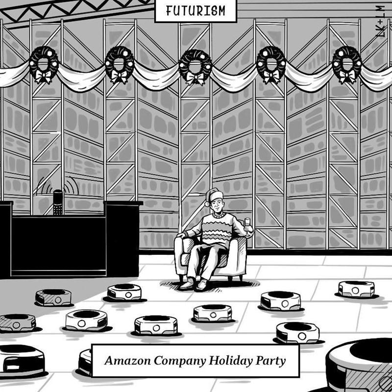 Cartoon - FUTURISM Amazon Company Holiday Party